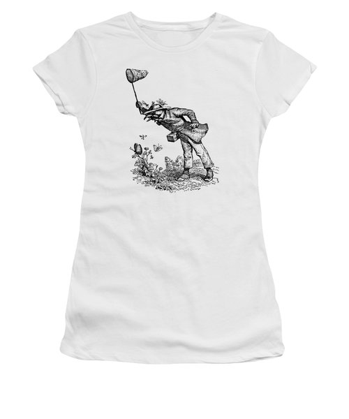 Women's T-Shirt featuring the digital art Butterfly Hunting Grandville Transparent Background by Barbara St Jean