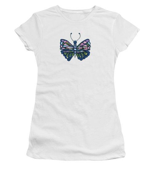 Butterfly In Blue Women's T-Shirt (Junior Cut) by Kathleen Sartoris