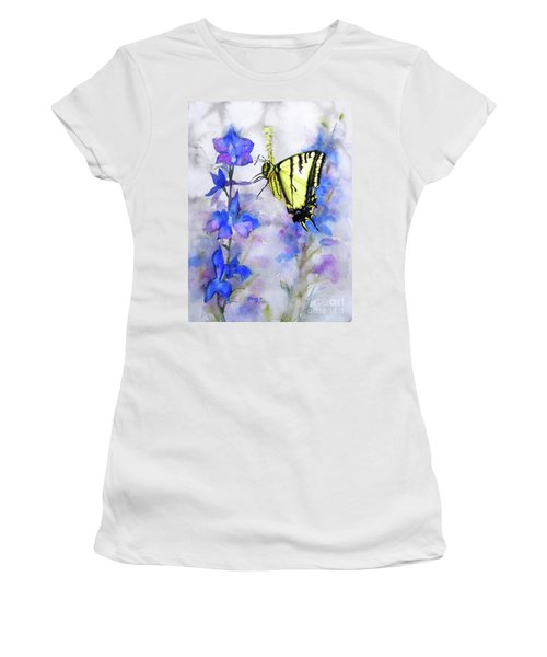 Women's T-Shirt (Junior Cut) featuring the painting Butteryfly Delight by Bonnie Rinier