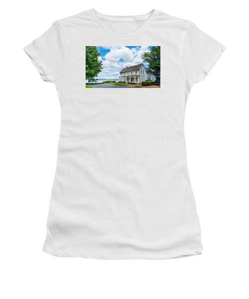 Women's T-Shirt (Athletic Fit) featuring the photograph By The Water In Oxford Md by Charles Kraus