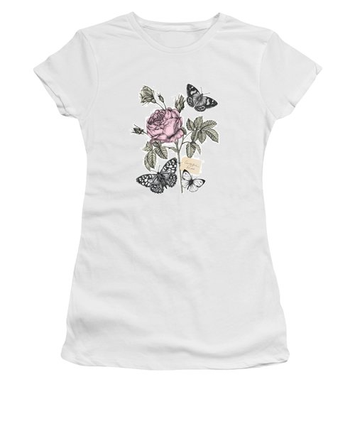 Cabbage Rose Women's T-Shirt (Junior Cut) by Stephanie Davies