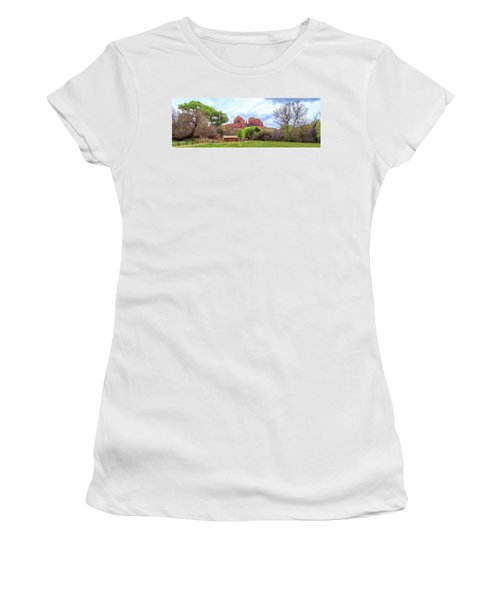 Women's T-Shirt (Athletic Fit) featuring the photograph Cabin At Cathedral Rock Panorama by James Eddy