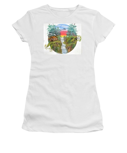 Cabin By The Falls Women's T-Shirt (Athletic Fit)