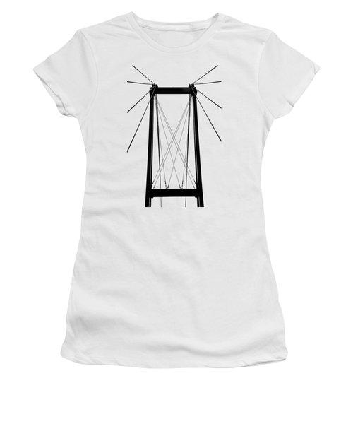 Cable Bridge Abstract Women's T-Shirt (Junior Cut) by Debbie Oppermann
