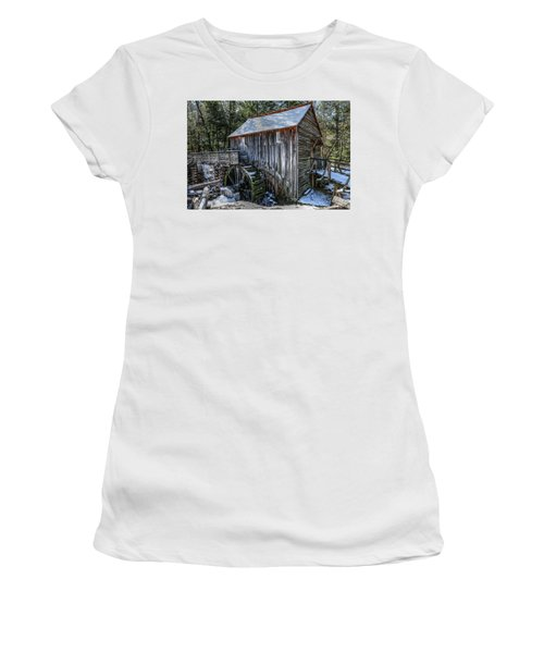 Cades Cove Grist Mill In Winter Women's T-Shirt