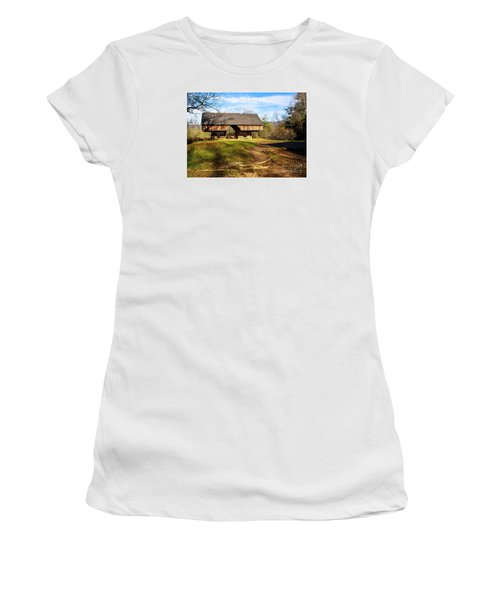 Cades Cover Cantilevered Barn Women's T-Shirt (Junior Cut) by Marilyn Carlyle Greiner