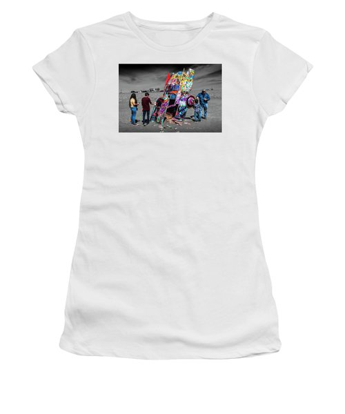 Women's T-Shirt (Junior Cut) featuring the photograph Cadillac Ranch Spray Paint Fun Along Historic Route 66 By Amarillo Texas by Randall Nyhof