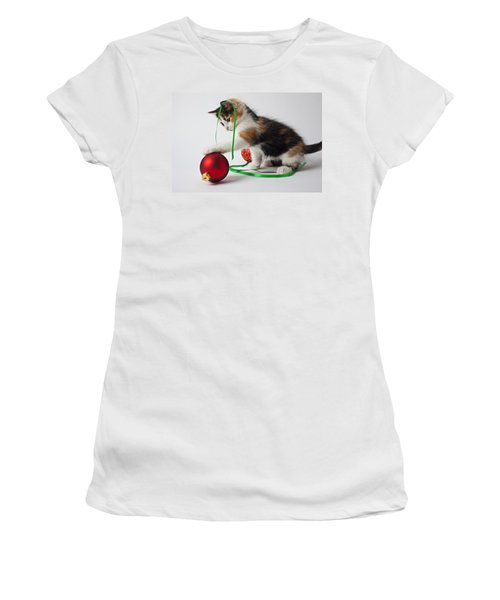 Calico Kitten And Christmas Ornaments Women's T-Shirt