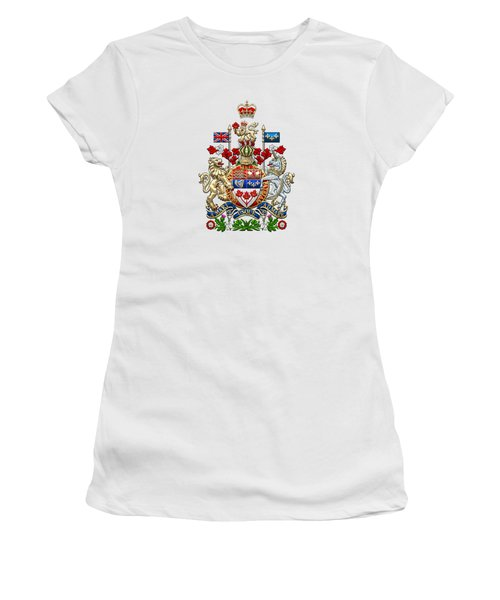 Canada Coat Of Arms Over White Leather Women's T-Shirt
