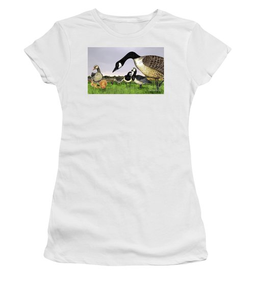 Canada Goose - Greylag Goose With Fledglings Chicks - White Fronted Goose -  Barnacle Goose Women's T-Shirt