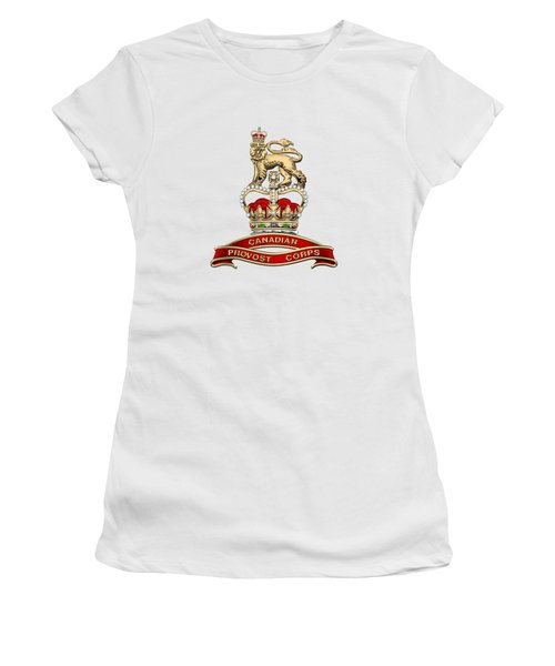 Canadian Provost Corps - C Pro C Badge Over White Leather Women's T-Shirt (Junior Cut) by Serge Averbukh
