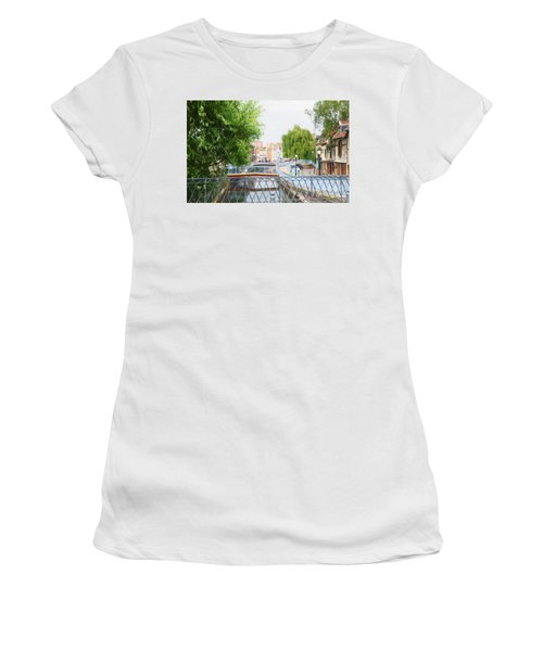 Women's T-Shirt (Junior Cut) featuring the photograph Canal View In Amiens by Therese Alcorn