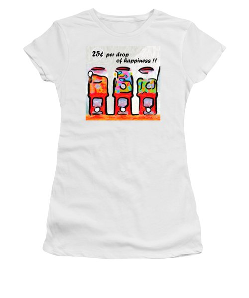 Women's T-Shirt featuring the photograph Candy Machines . 25 Cents Per Drop Of Happiness by Wingsdomain Art and Photography