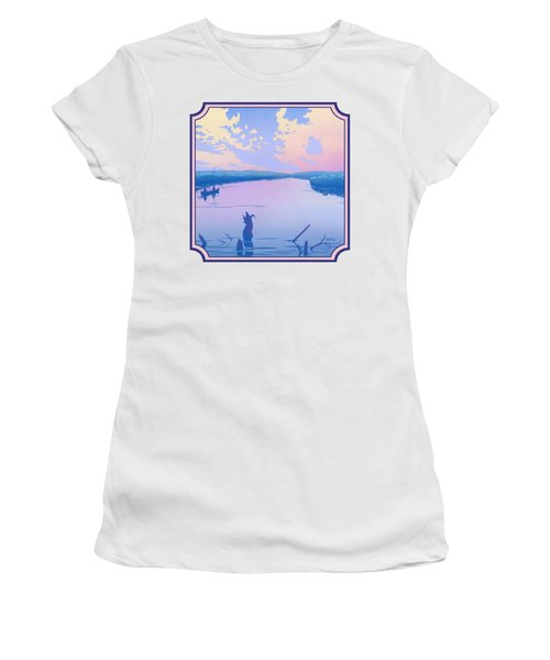 Canoeing The River Back To Camp At Sunset Landscape Abstract - Square Format Women's T-Shirt (Athletic Fit)