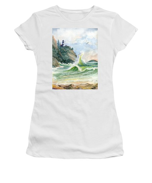 Women's T-Shirt (Junior Cut) featuring the painting Cape Disappointment Lighthouse by Marilyn Smith
