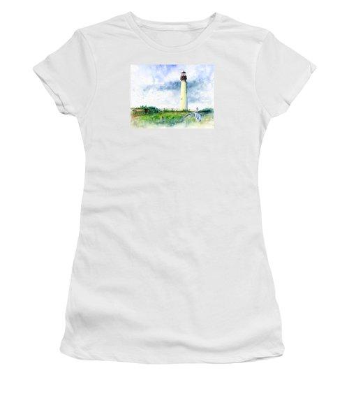 Cape May Lighthouse Women's T-Shirt (Junior Cut) by John D Benson