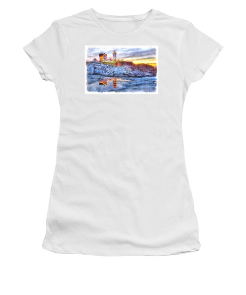 Cape Neddick Light Watercolor Women's T-Shirt (Athletic Fit)