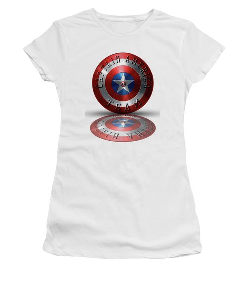 Captain America Team Typography On Captain America Shield  Women's T-Shirt (Junior Cut) by Georgeta Blanaru