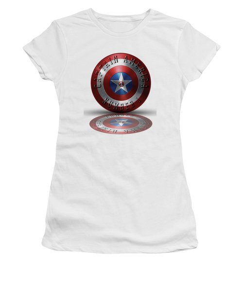 Captain America Typography On Captain America Shield  Women's T-Shirt (Junior Cut) by Georgeta Blanaru
