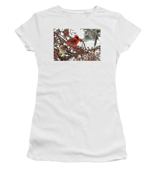 Women's T-Shirt (Athletic Fit) featuring the photograph Cardinal And Cedar Wax Wing Feeding On Crab Apples by Betty Pauwels