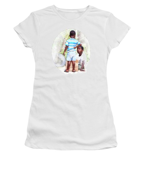 Caribbean Kids Illustration Women's T-Shirt (Athletic Fit)