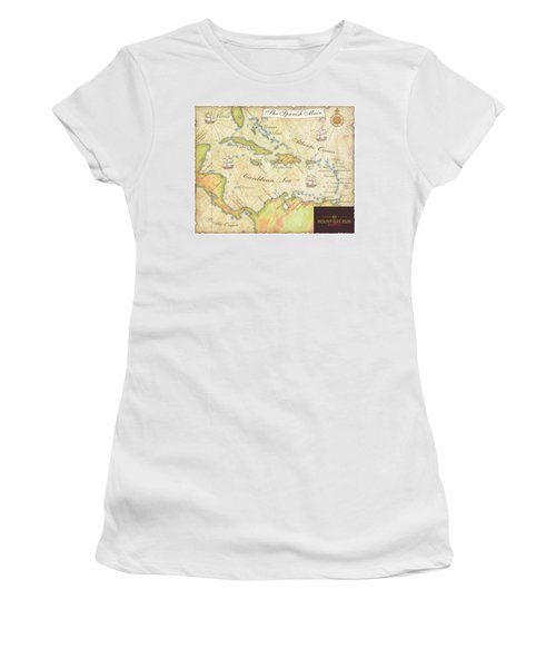 Caribbean Map II Women's T-Shirt (Athletic Fit)
