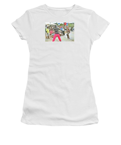 Women's T-Shirt (Junior Cut) featuring the painting Caribbean Scenes - De Stick Fight by Wayne Pascall