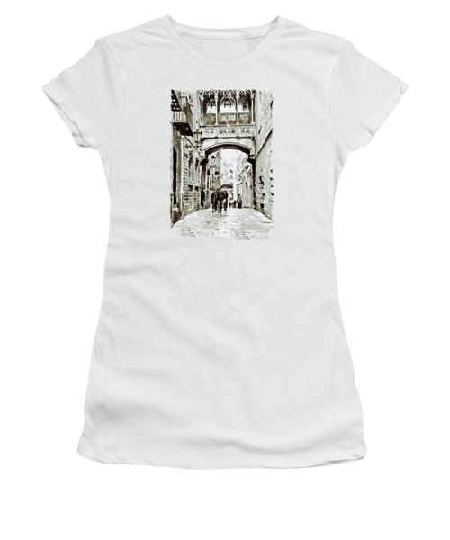 Carrer Del Bisbe - Barcelona Black And White Women's T-Shirt (Junior Cut) by Marian Voicu
