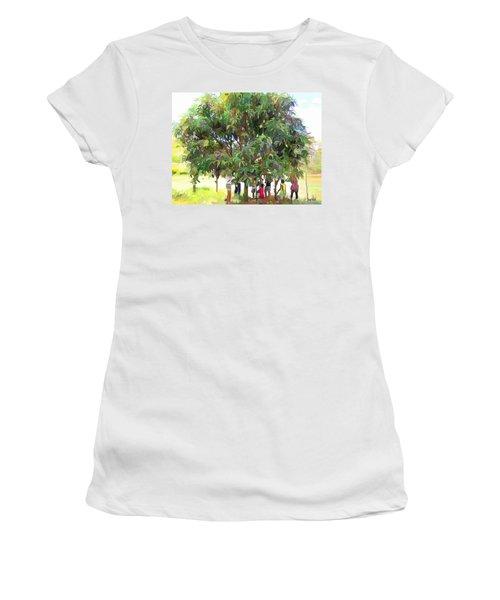 Carribean Scenes - Under De Mango Tree Women's T-Shirt (Junior Cut) by Wayne Pascall