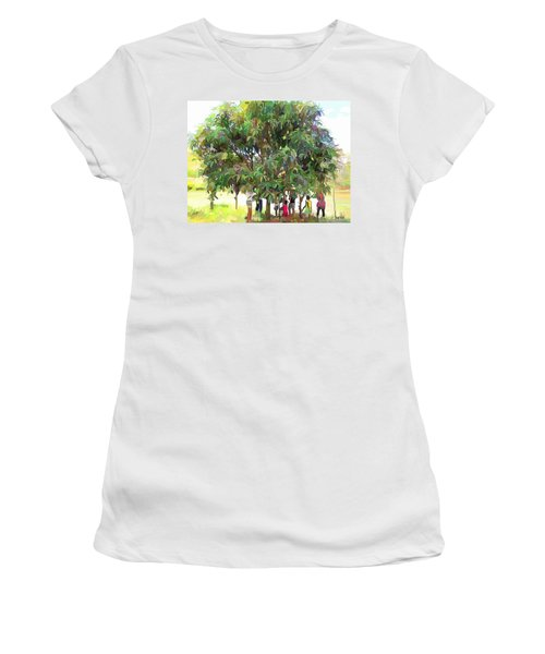 Carribean Scenes - Under De Mango Tree Women's T-Shirt (Athletic Fit)