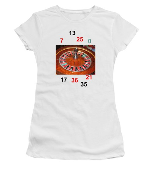 Casino Roulette Wheel Lucky Numbers Women's T-Shirt (Junior Cut) by Tom Conway