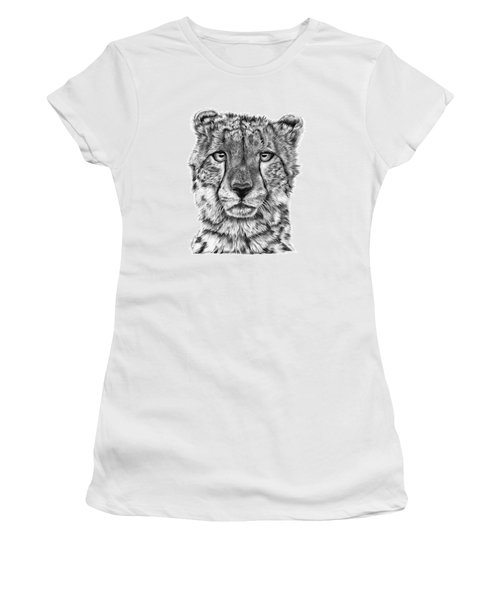 Women's T-Shirt (Junior Cut) featuring the drawing Cassandra The Cheetah by Abbey Noelle