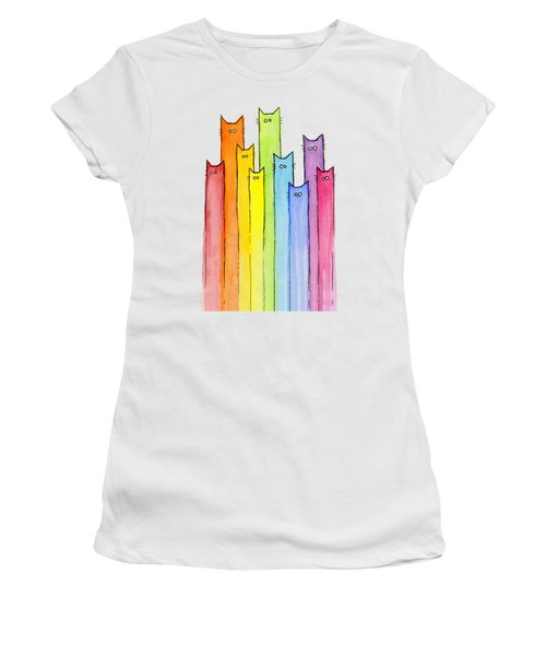 Cat Rainbow Watercolor Pattern Women's T-Shirt (Athletic Fit)