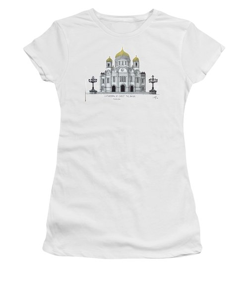 Women's T-Shirt (Junior Cut) featuring the drawing Cathedral  Of Christ The Savior - Moscow by Frederic Kohli
