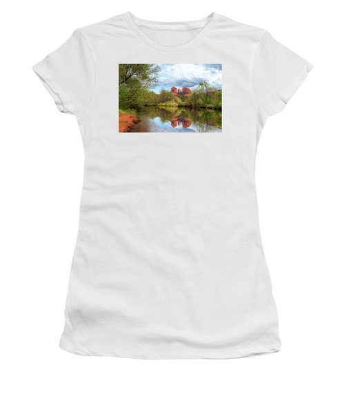 Women's T-Shirt (Junior Cut) featuring the photograph Cathedral Rock Reflection by James Eddy