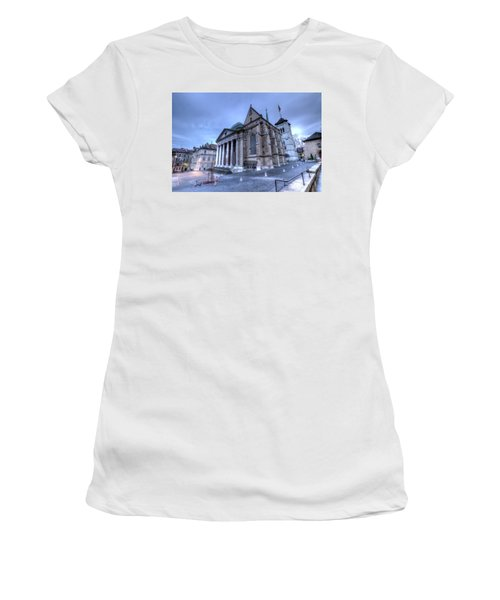 Cathedral Saint-pierre, Peter, In The Old City, Geneva, Switzerland, Hdr Women's T-Shirt (Junior Cut) by Elenarts - Elena Duvernay photo