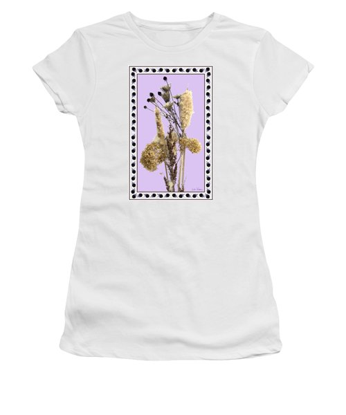 Cattails And November Flowers Women's T-Shirt (Junior Cut) by Lise Winne
