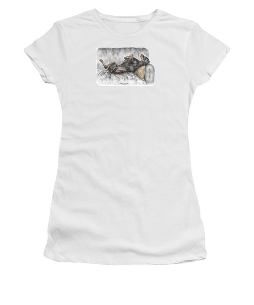Caution Guard Dog - Doberman Pinscher Print Color Tinted Women's T-Shirt