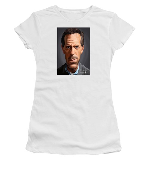 Women's T-Shirt (Junior Cut) featuring the drawing Celebrity Sunday - Hugh Laurie by Rob Snow