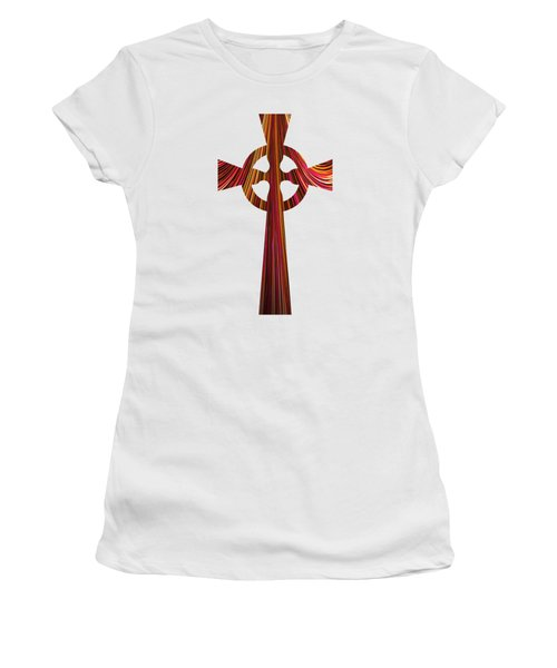 Women's T-Shirt featuring the digital art Celtic Cross With Fractal Abstract Fill by Rose Santuci-Sofranko
