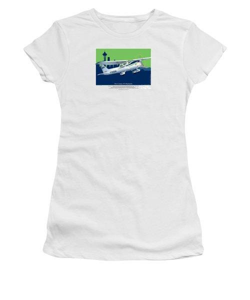 Women's T-Shirt (Junior Cut) featuring the drawing Cessna Skyhawk 172 by Kenneth De Tore