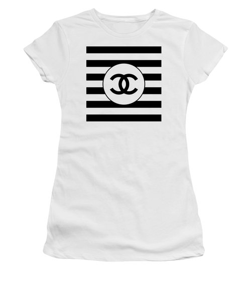 Chanel - Stripe Pattern - Black And White 1 - Fashion And Lifestyle Women's T-Shirt