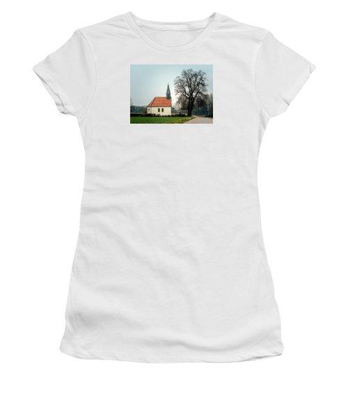 Chapel Under The Tree Women's T-Shirt (Junior Cut) by Daniel Precht