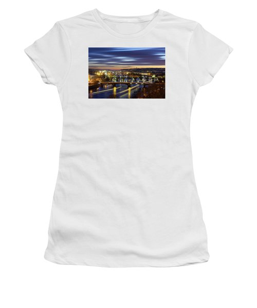 Charles Bridge During Sunset With Several Boats, Prague, Czech Republic Women's T-Shirt (Athletic Fit)