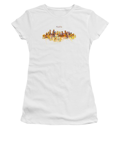 Charlotte Watercolor Skyline Women's T-Shirt (Junior Cut) by Marian Voicu