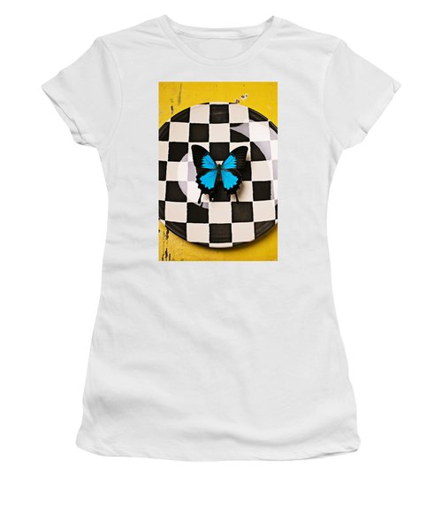 Checker Plate And Blue Butterfly Women's T-Shirt