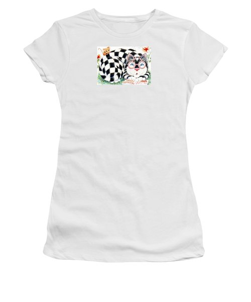 Women's T-Shirt (Junior Cut) featuring the drawing Checkers by Dee Davis