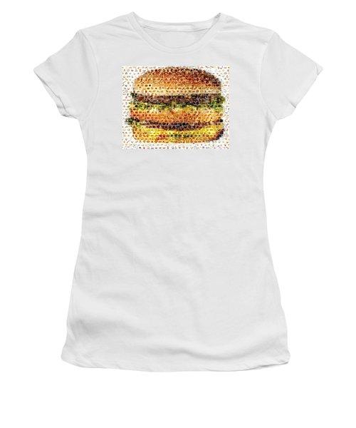 Women's T-Shirt (Junior Cut) featuring the mixed media Cheeseburger Fast Food Mosaic by Paul Van Scott