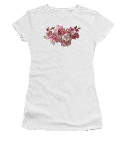 Cherry Blossom On Black Women's T-Shirt