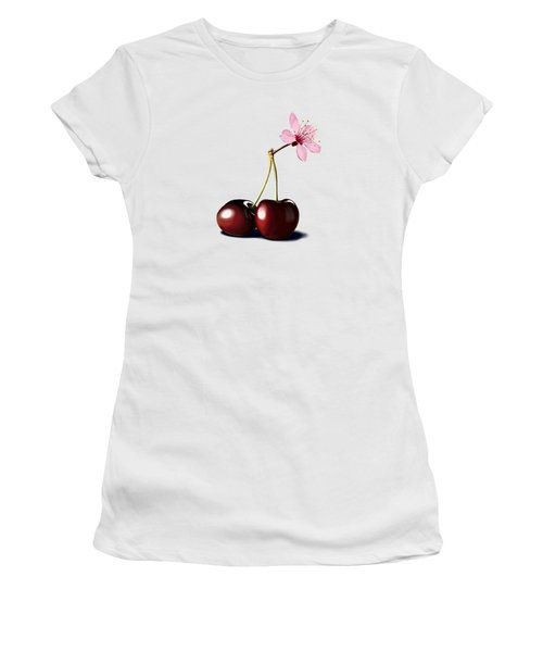 Women's T-Shirt (Junior Cut) featuring the drawing Cherry Blossom by Rob Snow